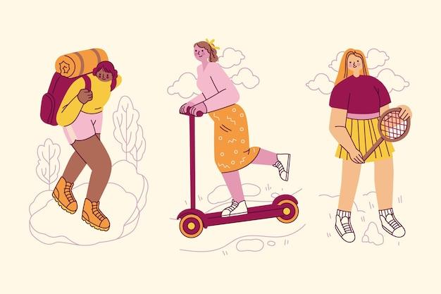 Illustratie van mensen die buitenactiviteiten doen Gratis Vector