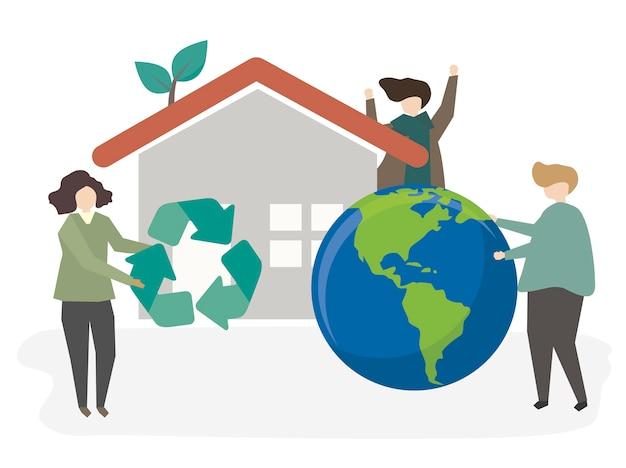 Illustratie van mensen die duurzaam zijn