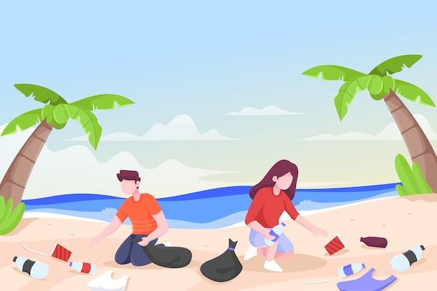 Illustratie van mensen die een strand samen schoonmaken