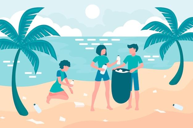 Illustratie van mensen die een strand schoonmaken