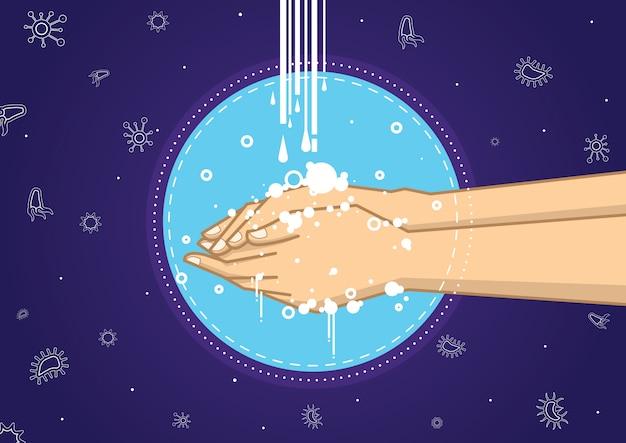 Illustratie van mensen die handen wassen.