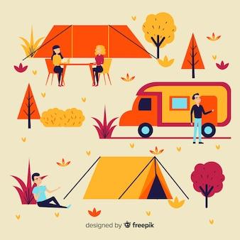 Illustratie van mensen die het kamperen doen