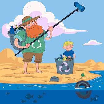 Illustratie van mensen die het strand schoonmaken