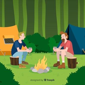 Illustratie van mensen die in aard kamperen