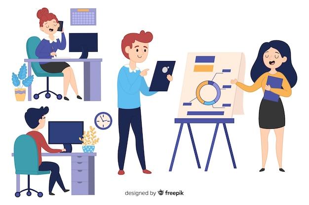 Illustratie van mensen die in bureau werken