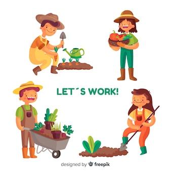 Illustratie van mensen die in de landbouw samenwerken
