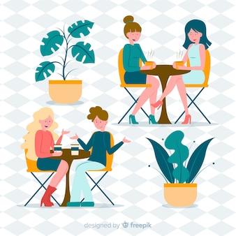 Illustratie van mensen die in een koffie zitten
