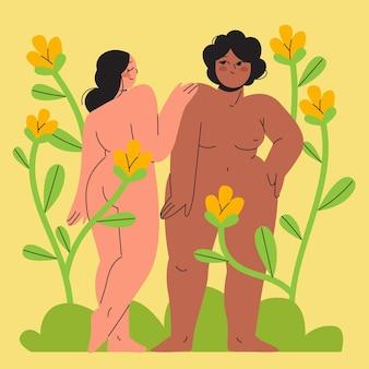 Illustratie van mensen die naturisme beoefenen