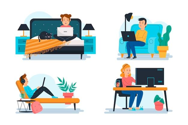 Illustratie van mensen die op afstand werken