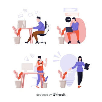 Illustratie van mensen die op kantoor werken