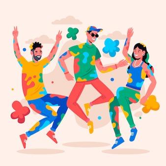 Illustratie van mensen die samen het holifestival vieren