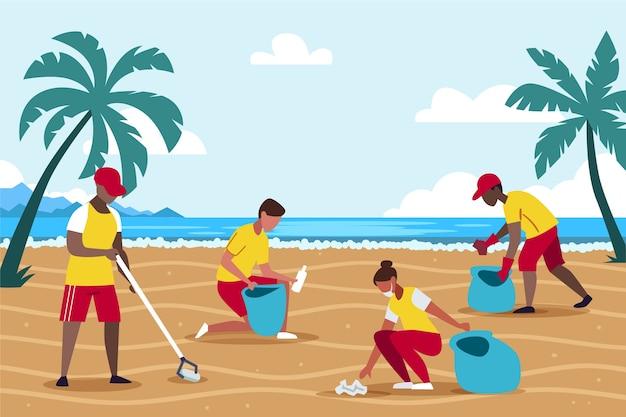 Illustratie van mensen die strand schoonmaken