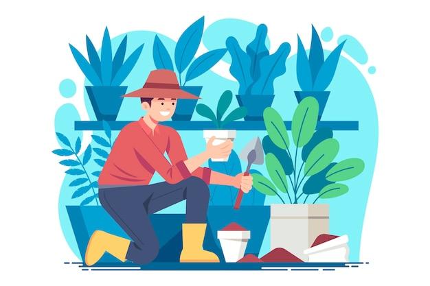 Illustratie van mensen die voor planten zorgen