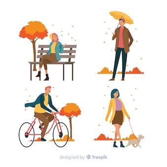 Illustratie van mensen in het de herfstpark