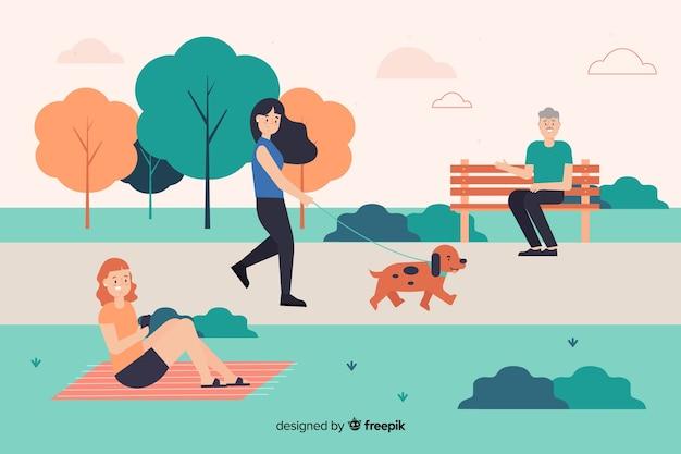 Illustratie van mensen in het park