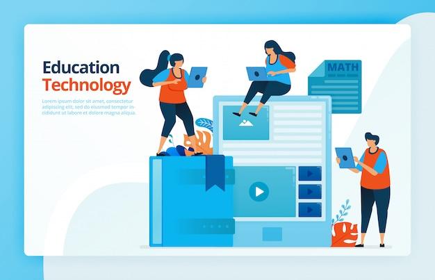 Illustratie van mensen met moderne technologie-onderwijs. studeren met een smartphone of tablet.