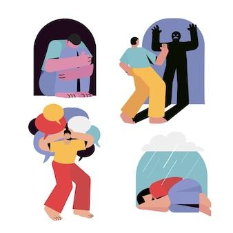 Illustratie van mensen met psychische problemen