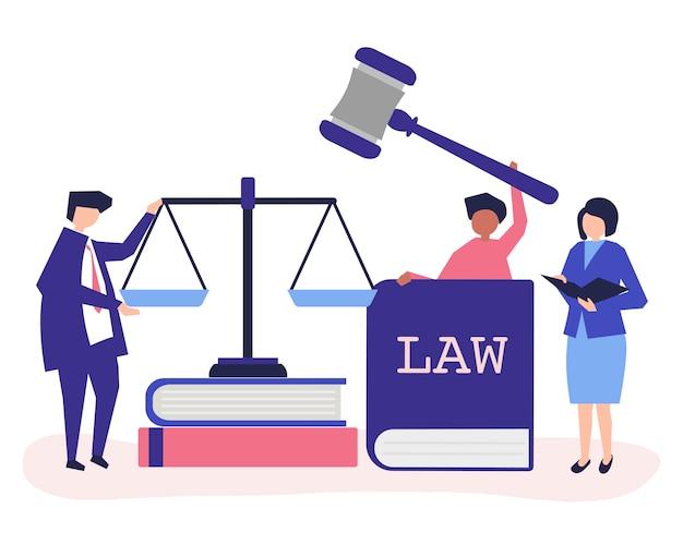 Illustratie van mensen met rechtvaardigheid en ordepictogrammen
