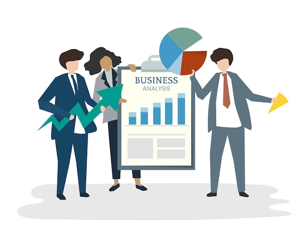 Illustratie van mensenavatar businessplanconcept
