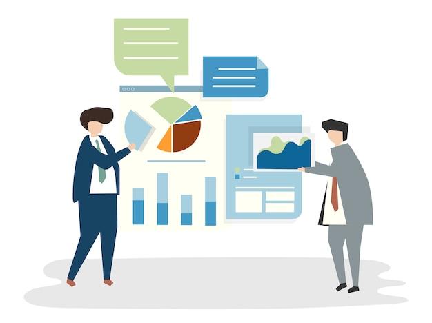 Illustratie van mensenavatar businessplanconcept