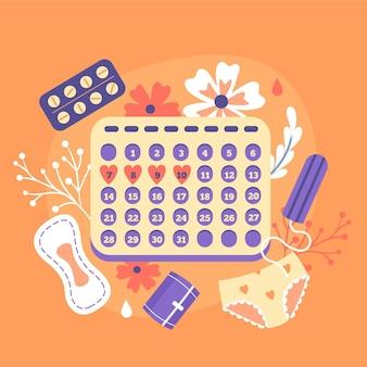 Illustratie van menstruele kalenderconcept