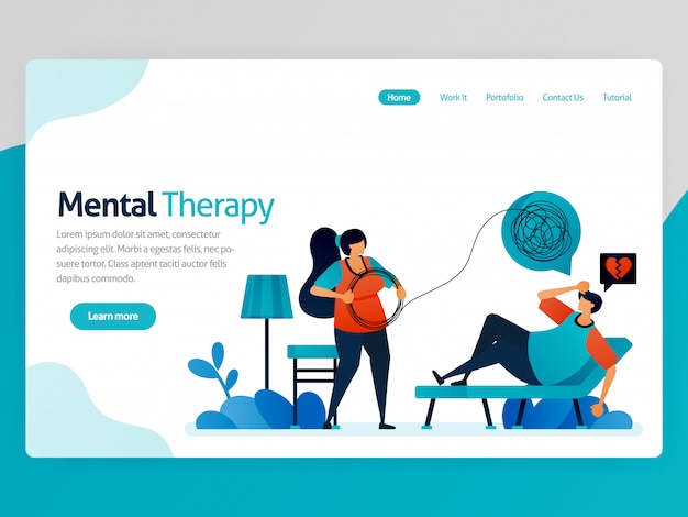 Illustratie van mentale therapie. eenzaamheid mensen counseling aan psychiater om problemen in de levensloop ingewikkeld te maken. vector cartoon voor website homepage header landingspagina paginasjabloon apps