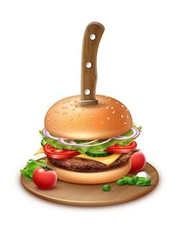 Illustratie van mes gestoken door een hamburger met cherrytomaat en gehakte uien op houten plaat