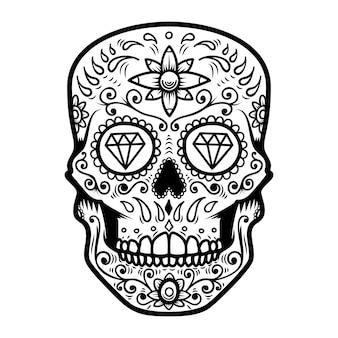 Illustratie van mexicaanse suikerschedel. dag van de doden. dia de los muertos. ontwerpelement voor logo, etiket, embleem, teken, poster, t-shirt.
