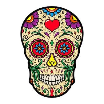 Illustratie van mexicaanse suikerschedel die op witte achtergrond wordt geïsoleerd.