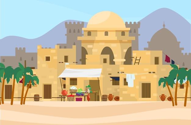 Illustratie van midden-oosten stadsgezicht met traditionele huizen, markt en kasteel op de achtergrond.