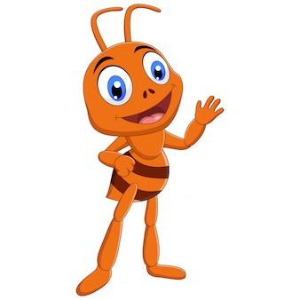 Illustratie van mier cartoon geïsoleerd op een witte achtergrond
