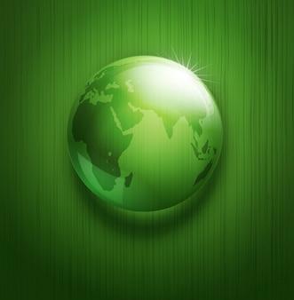 Illustratie van milieu-achtergrond met transparante groene bol