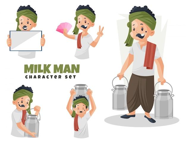 Illustratie van milk man character set