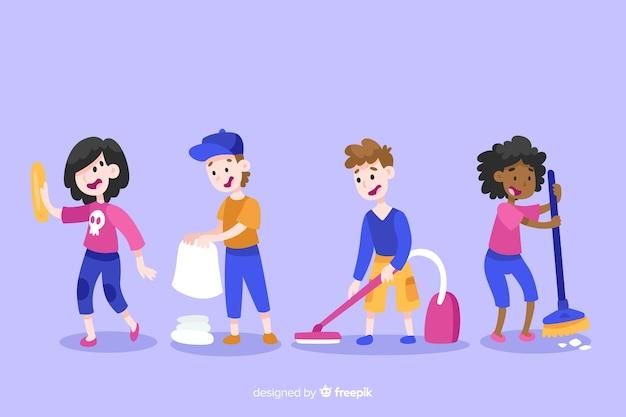 Illustratie van minimalistische karakters die huishoudelijk werkinzameling doen