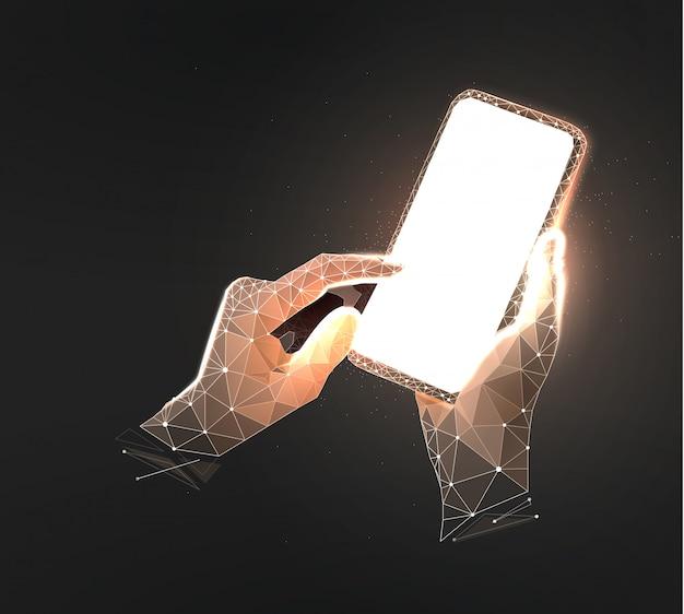 Illustratie van mobiele telefoon wireframe op donkere zwarte