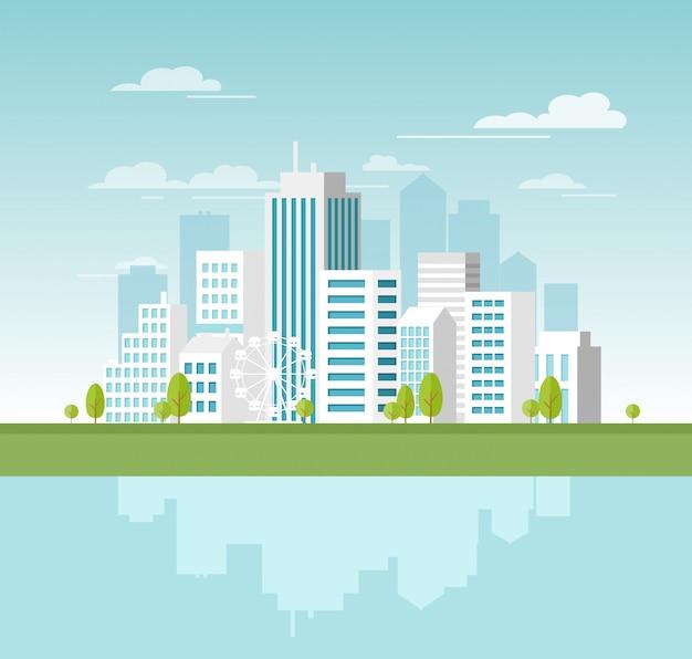 Illustratie van modern stedelijk landschap met witte wolkenkrabbers en grote gebouwen. concept website sjabloon voor banner in stijl. Premium Vector