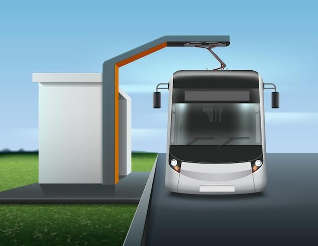 Illustratie van moderne elektrische bus tijdens het opladen op bushalte