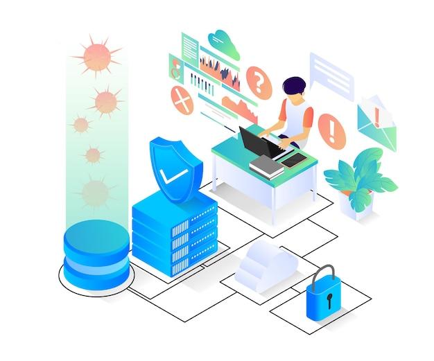 Illustratie van moderne isometrische stijl over computervirusbescherming