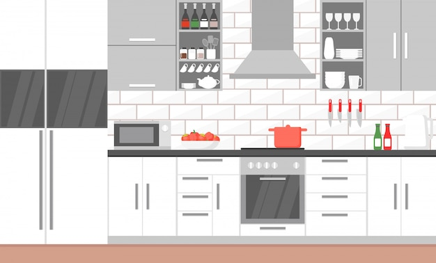 Illustratie van moderne keuken interieur met fornuis, kast, borden en koelkast.