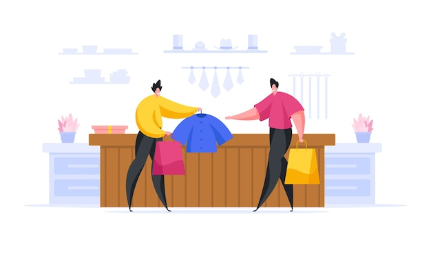 Illustratie van moderne mannelijke klant kledingstuk te nemen