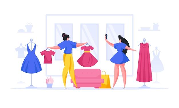 Illustratie van moderne vrouwen die stijlvolle kleding proberen