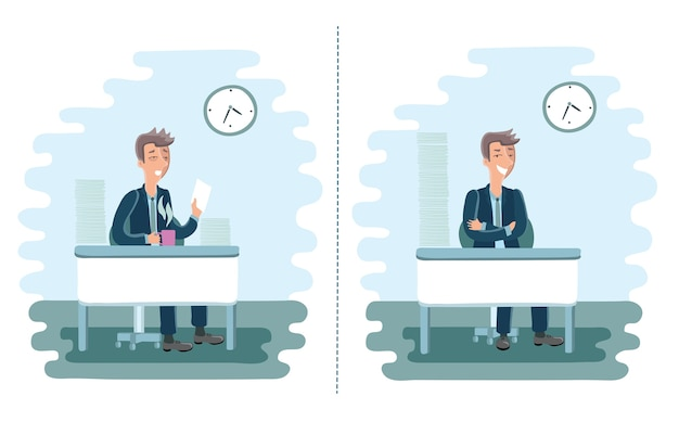 Illustratie van moe en vol energie cartoon mannen op kantoor met een stapel papier op hun bureau.