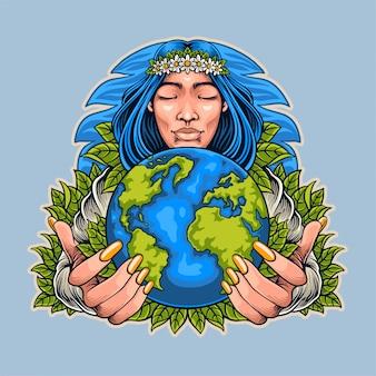 Illustratie van moeder aarde dag