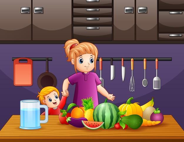 Illustratie van moeder en zoon bij de keuken