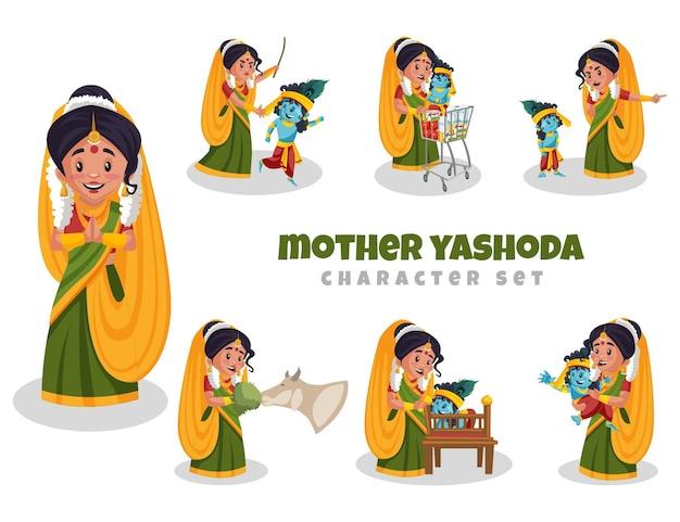 Illustratie van moeder yashoda-tekenset
