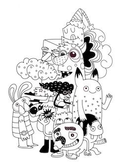 Illustratie van monsters en schattige buitenaardse vriendelijke, coole, schattige handgetekende monsterscollectie