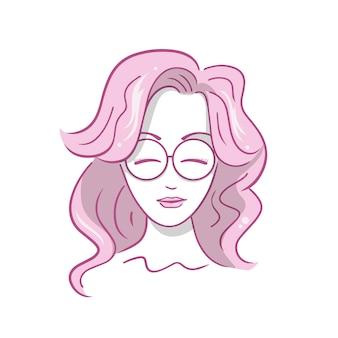 Illustratie van mooi meisje met bril