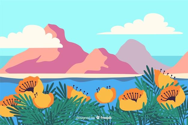 Illustratie van mooi natuurlijk landschap met bergen