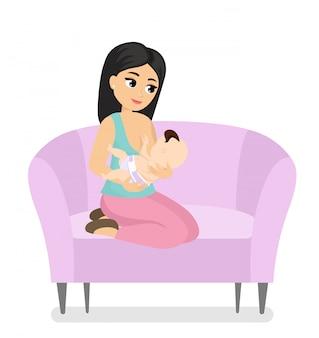 Illustratie van mooie jonge moeder zittend op de bank en bedrijf baby in haar handen tijdens het geven van borstvoeding. moedermelk, kleurrijke baby borstvoeding concept