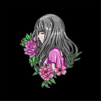 Illustratie van mooie meisjes met bloemen ernaast